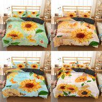 Wholesale bedding sets sunflowers resale online - Homesky Sunflower Bedding set King Queen Quilt Set Bedclothes Microfiber Bed room Home Textiles Pillowcase Bedspread