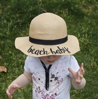 tampas do chapéu do verão do bebê venda por atacado-10 estilos Crianças Balde Chapéu Chapéu de Palha Chapéu de Sol verão Sunhat Word Fishing Caps Bebê Pescador Dos Desenhos Animados Crianças Praia Bacia chapéus