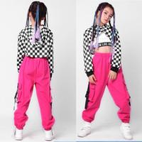 balo kıyafeti toptan satış-3 PCS Kid payetli Hip Hop Giyim Takım Elbise Caz Dans Kostüm Set Kız Casual Tayt pantolon Balo Dans kıyafetleri Kıyafet başında