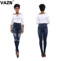 intervalos de luz venda por atacado-VAZN Outono 2020 leopardo elástica novas mulheres bolsos casuais jovem correia quebrada buraco alta full-length calças luz azul jeans