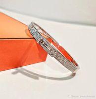 reines silbernes charmearmband großhandel-Luxuriöses reines Silberarmband S925 mit Diamanten und H-Schließe für Damenschmuck Hochzeitsgeschenk PS5324
