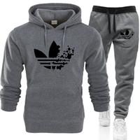 männer hoodie fleece großhandel-Outdoor Sports Mann Frauen Graffiti Hoodie Sweatshirt Männer / Frauen Hoodies Sweatshirts + Jogginghosen Anzüge Herbst Winter Fleece Kapuzenpullover