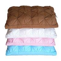 almofadas cor de rosa venda por atacado-Ganso / Pato Para Baixo Cama Travesseiro Branco / Azul / Rosa / Marrom Capa de Algodão Macio Estilo Francês Pão Forma Dormir travesseiro Enchimento