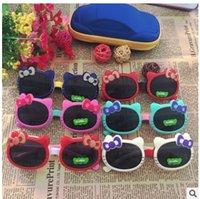 bebek gözlükleri gözlükleri toptan satış-Çocuk Sevimli Kedi 1337 Güneş Çocuk Bebek Bebek Karikatür Güneş Gözlükleri Açık Goggles Flip Up