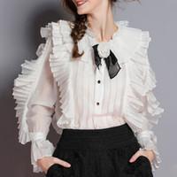 tops de encaje casual para mujer al por mayor-Camisas elegantes para mujer Blusa Collar de flores Flare Manga larga Patchwork Encaje Ruffle Tops Mujer 2019 Moda de primavera