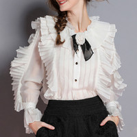 flor camisa tops blusa venda por atacado-Elegante Camisas Das Mulheres Blusa Flor Gola Flare Manga Longa Patchwork Rendas Ruffle Tops Feminino 2019 Moda Primavera