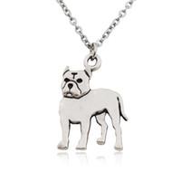 süße stier großhandel-Nette Pit Bull Terrier Anhänger Halskette Frauen Boho Staffordshire Bull Haustier Liebe Halsketten Für Männer Schmuck Edelstahl Kette Kragen