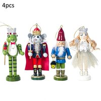 Wholesale wooden frogs resale online - 4Pcs Set Wooden Painted Christmas Soldier Doll Ornaments Frog Mouse Queen Shaped for Children Gifts Toy for Christmas Decoration T191017