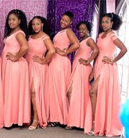 Wholesale party gown images for sale - Group buy South African Watermelon Split Bridesmaid Dresses Elegant One Shoulder Plus Size Wedding Guest Party Gowns Custom Made BM1557