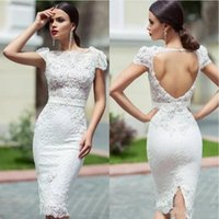 Wholesale short white beach wedding reception dresses for sale - Group buy Unique Lace wedding Dresses With Knee Length Sheath Cap Sleeves Hollow Back Short Garden Wedding Reception Dress Bridal Gowns