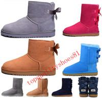 botas de nieve para mujer arcos al por mayor-Tamaño de Estados Unidos 5-10 2020 zapatos de cuero del Arco-nudo WGG para mujer diseñador Australia Classic Tall botas de media las mujeres del arco niñas nieve del invierno tobillo de arranque 36-41