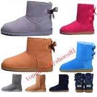 ankle boots couro clássico mulheres venda por atacado-Tamanho dos EUA 5-10 2020 Curva-nó WGG Womens Designer Austrália clássico meio de altura Botas Bow Mulheres Meninas Neve tornozelo Inverno bota de couro Sapatos 36-41