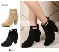 siyah ayak bileği botları kalın topuk toptan satış-Toptan büyük boy yüksek topuk siyah ayak bileği çizme kadınlar 2019 yeni Avrupa ve Amerikan kalın dip düşük tüp dişi Martin çizme