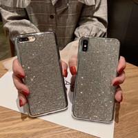 cristal d'éclat blanc achat en gros de-Luxe 3D Étincelle Pierres Superbes Cristal Strass Bling Complet Blanc Diamant Cas De Paillettes Pour iPhone 6S 7 8 plus XS XR MAX