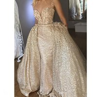 Wholesale coral sparkle prom dress resale online - Sparkle Gold Mermaid Evening Dresses with Detachable Train Cheap Sequined Prom Dress Overskirt Party Gowns Vestidos