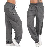 moda mulheres baggy calças venda por atacado-Moda feminina Calças Soltas Calças Casuais Harem Pants S-5XL Com Cordão Calças Baggy Cintura Plus Size Calças Femininas