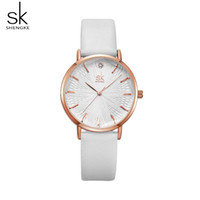 Wholesale elegant watches women resale online - Shengke Woman Fashion Casual Watch Leather Band Analog Round Wrist Watch Quartz Watches Women Clock Reloj Mujer Elegant