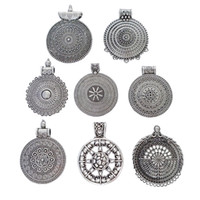 Wholesale tibetan coins charms pendant resale online - 5 x Tibetan Antique Silver Tone Bohemia Boho Flower Round Charms Pendants for Necklaces Jewelry Making Findings