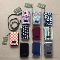 corda de zíper venda por atacado-KA Canvas Zipper Telefone Carteiras Marca Desinger ID Caso Titulares de Cartões de Crédito de Viagem Com Corda Mini Bolsa de Moeda Sacos Bolsa 10 cores B80803