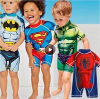 super badeanzüge großhandel-2-11 Jahre Kinder Badebekleidung Einteiliger Junge Badeanzug Superheld Batman Schwimmen Kinder Captain America Sport UPF50 + Strandbekleidung
