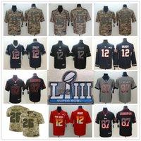 usa schüssel großhandel-2019 New Patriots Super Bowl LIII Trikots 12 Tom Brady 11 Julian Edelman 26 Sony Michel 87 Rob Gronkowski Salute zum Service USA Flag Fashion