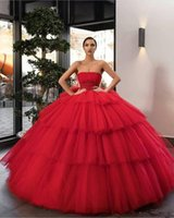 Wholesale ruched empire waist prom dresses resale online - Strapless Tulle Tiered Ball Gown Quinceanera Dresses Pleated Sexy Customized Long Prom Party Gowns Beaded Empire Waist Evening Gowns