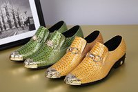 gelbe brautkleider zum verkauf großhandel-Heiße Sale-alian Marke Mens Pointed Toe Wohnungen Kleid Schuhe Metallic Lackleder Hochzeit Schuhe Gelb Grün 2 Farben