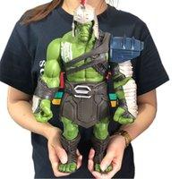 gran figura de hulk al por mayor-35 cm Tamaño grande Avengers Marvel Thor 3 Ragnarok Manos Movible Guerra Martillo Batalla Hacha Gladiador Hulk BJD Figura de acción Modelo de juguete