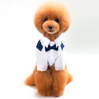 ingrosso vestito del cane del cucciolo del cane-Pet Supplies Vestiti per cani di piccola taglia 100% cotone Pet Dog Suit Pet Wedding Striped Gentleman Dog Clothes Puppy Shirt Dress