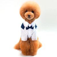 vestidos de novia de cachorro al por mayor-Suministros para mascotas Ropa para perros Ropa para perros pequeños 100% algodón Traje para mascotas Mascotas Boda Rayado Caballero Ropa para perros Camisa de perrito Vestido