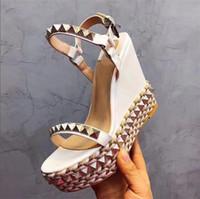 überzogene keilsandale großhandel-Designer-Sandalen mit roter Unterseite Cataclou Cork Wedge-Schuhe Damen Espadrille Pumps Sommer Sandalen Silber glitzernde Plateausandalen US9