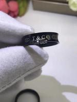 regalo de amante gratis al por mayor-316L Titanio acero negro anillos de la banda amantes Tamaño para mujeres y hombres negro 1837 anillo de amante regalo de la joyería envío gratis PS7658