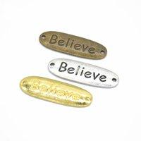 charmes d'affirmation achat en gros de-Vrac 200 Pcs / lot 34 * 11MN Affirmation Bracelet Believe connecteur charme en argent antique, bronze antique, couleurs or