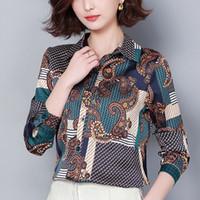 vêtements en soie grande taille achat en gros de-Femmes Hauts et Blouse Printemps Soie Blusas Femmes Chemises Plus Size XXXL Blusas Femininas Elegante Vêtements de Mode Coréenne