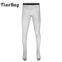 schwarz sehen durch strümpfe großhandel-TiaoBug Black Fishnet Hohl Durchsichtig Elastische Taillenstrumpfhose Leggings Stretchy Pantyhose Hot Erotic Sexy Men Sheer Stockings