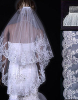 Wholesale wedding veil fingertip tier resale online - Fingertip Veils With Beaded Lace Appliques Tiers Custom Made Cheap Short Wedding Veils White Ivory