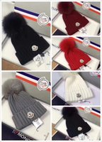 Wholesale hats gloves sets for sale - Group buy NEWEST Branded Women Winter Knit Hat Pure Virgin Wool Fox Fur Fashion Girl Soft Warm Hat