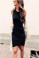 Wholesale wholesale womens clothing for sale - Womens Bodycon Dresses New Arrival Women Solid Color Sleeveless Short Dresses Ladies Casual Summer Skirts Womens Clothing Size S XL