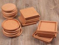 holztisch matten untersetzer großhandel-Holz Untersetzer Kreative Hölzerne Wärmeisolierte Pad Tee Tasse Pads Isolierte Trinkmatte Teekanne Tischsets
