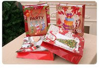 Wholesale birthday party bags toys resale online - 300pcs Christmas Gifts Kraft Paper Bag Christmas Handbags Birthday Gift Party Gifts Candy Chocolate Toys Packaging XD22649