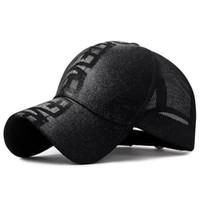 мужская модная кепка оптовых-Модная дышащая сетка Открытый бейсболка и шляпа солнца Ручная печать букв хлопка мужские и женские шляпы от солнца могут быть скорректированы для высокой
