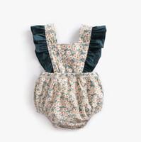 trajes de saltadores al por mayor-2019 diseño del bebé mamelucos de algodón floral Lotus hoja borde bebé recién nacido de una sola pieza del mameluco infantil niño jumper traje