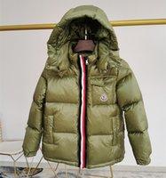 naylon kış ceketleri toptan satış-Sıcak Markalı Çocuklar Donw Naylon Ceket Tasarımcı Erkek Kız Fermuar Ön Kapanış Kış Kısa Kapşonlu Dış Giyim