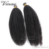 pré vierge vierge indienne achat en gros de-VMAE cuticule aligné indienne vierge vierge pré collé cheveux kératine bâton pré-lié Yaki vague profonde Afro Kinky bouclés je pointe Extensions