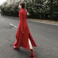 lange rote baumwoll-maxi-röcke großhandel-2019SS verdickendes Sanding der Baumwolle, das großes Schaukelkleid spaltet, kleinen Stehkragen unregelmäßigen schwarzen roten langen Rock