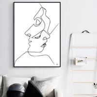 líneas abstractas arte moderno lienzo al por mayor-Abstract Line Drawing Nordic PosterPrints Modern Canvas Painting Poster Wall Art Hombres Mujeres Deer Wall Picture Dormitorio Decoración para el hogar