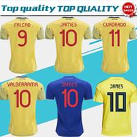 james camisetas de fútbol al por mayor-2019 Colombia soccer camiseta Jersey Colombia Inicio camiseta amarilla 2018 # 10 JAMES # 9 FALCAO # 11 CUADRADO Uniforme de fútbol azul tailandés