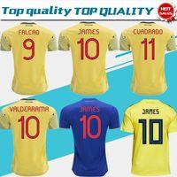 5880088db 2019 Colombia soccer Jersey Colombia Home yellow Soccer shirt 2018  10  JAMES  9 FALCAO  11 CUADRADO Thai away blue Football uniform