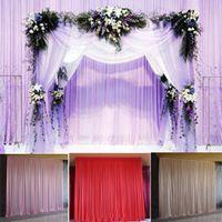 hochzeit schiere vorhänge groihandel-Silk Sheer drapiert Panels Hanging Vorhänge Partei Kulisse Hochzeit Dekoration Drape Big Events Hintergrund Tuch 5 Farben 2.4X1.5m