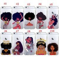 ich telefoniere transparent großhandel-Afro Black Girl Magie Melanin Poppin Telefonkasten für iPhone 7 5S SE 6s 8 plus weiche TPU Silikonabdeckung für Apple i Phone X XR XS MAX Fall